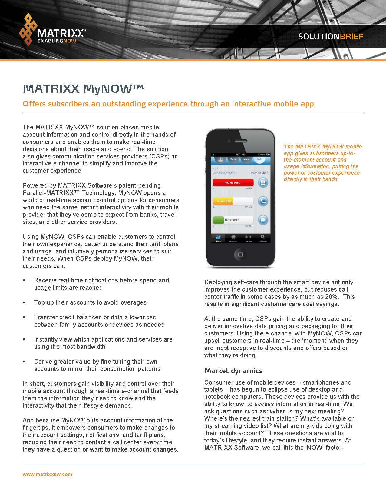 MATRIXX Software MyNOW Solution Brief