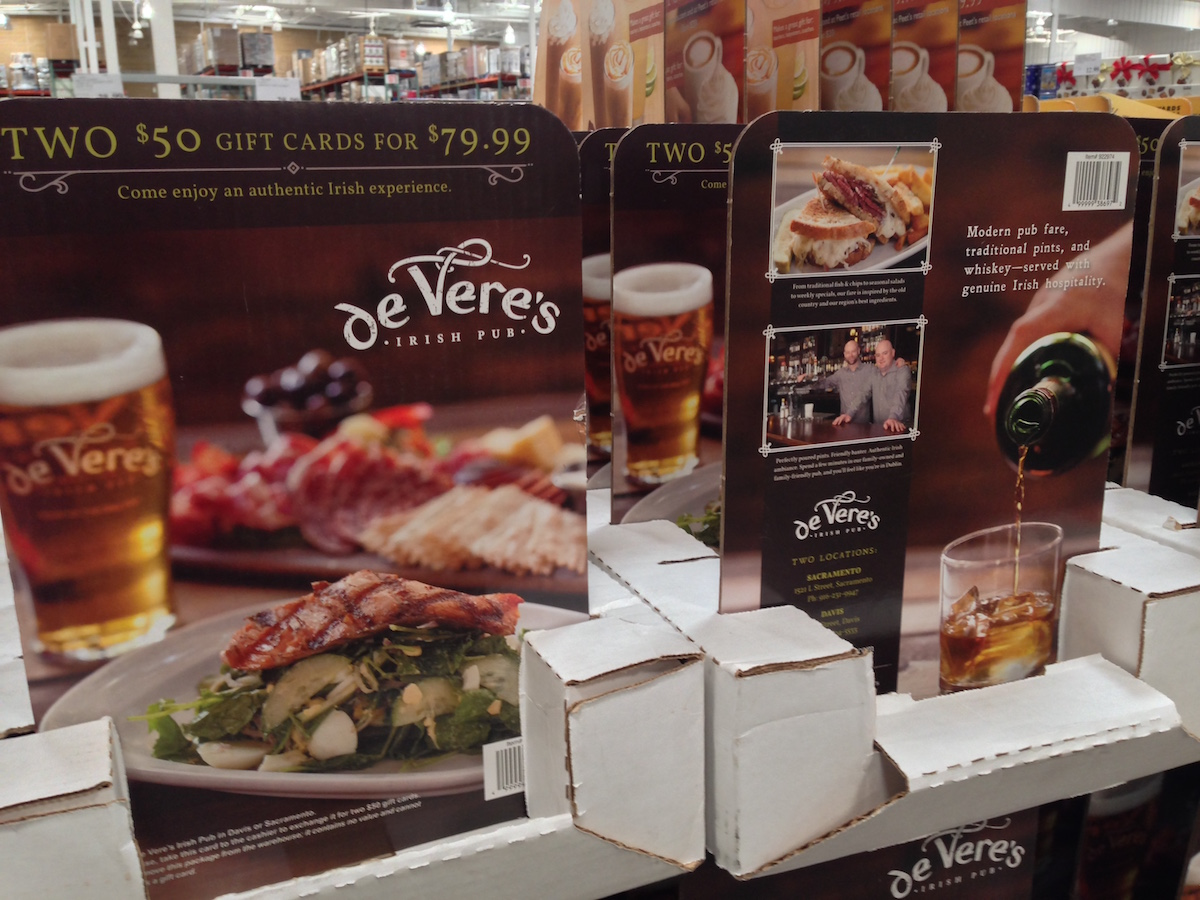 deVere's gift cards on display at Costco
