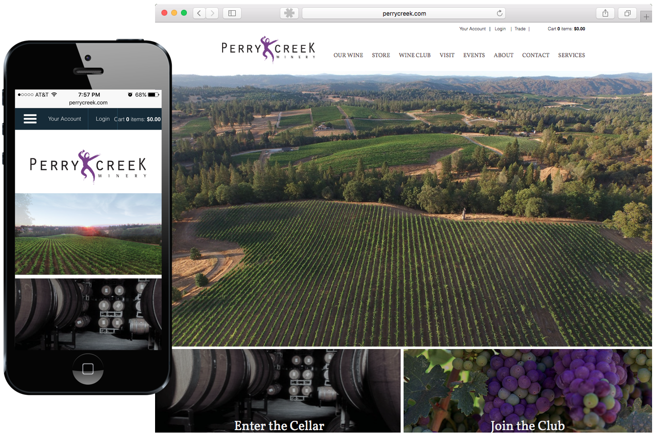 Perry Creek Winery Website with Mobile Version