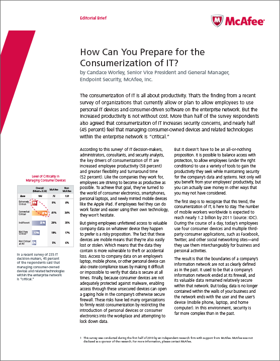 "McAfee: ""Consumerization of IT"" editorial brief"