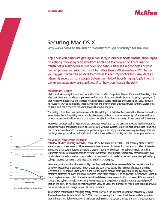 "McAfee: ""Securing Mac OS X"" business brief"