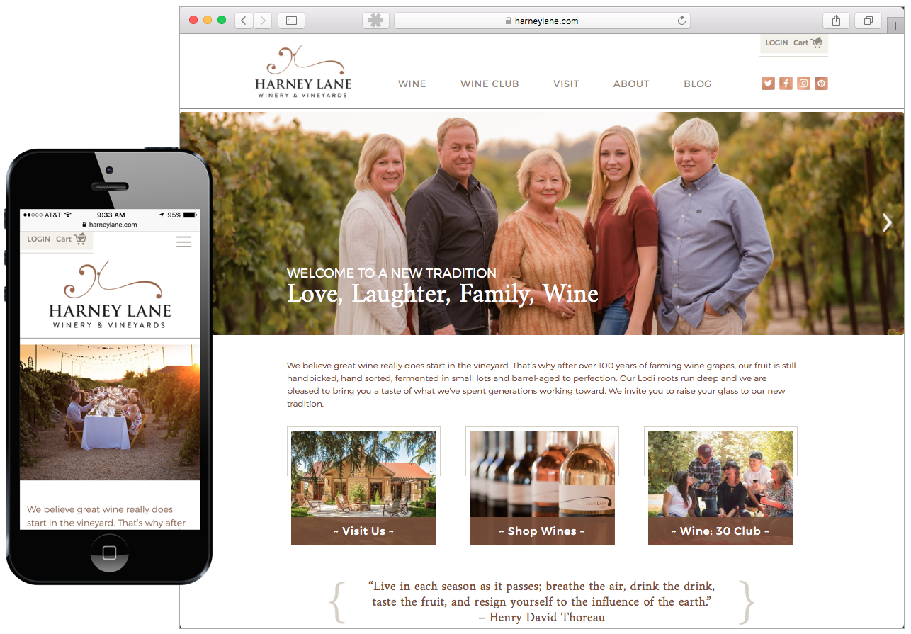 Harney Lane Winery responsive website with mobile version